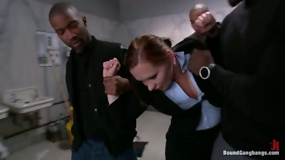 Sexy office lady gets gangbanged in a restroom