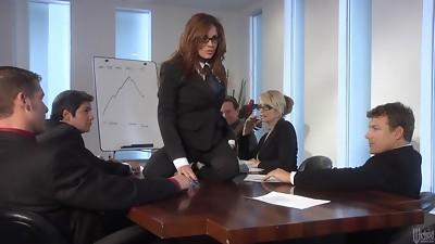Hardcore office gangbang with slim models
