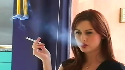 Cutie is smoking ciggies in a sexy way