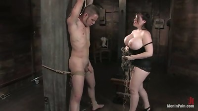 Hugely Boobed Daphne Rosen Playing with Guy in Female domination Torment Bondage & discipline vid