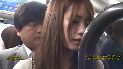 SW-458 - Dressed in a black pantyhose office nymphs in a crowded commuter