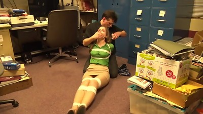 Hogtied and gagged in her own office