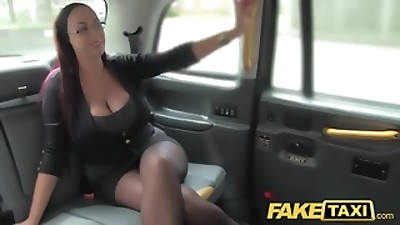Fake Taxi Secretary looking lady with thick fun bags and wet puss