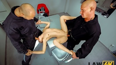 LAW4k. Pretty dollface with petite body gets used by two