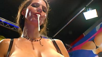 German brunette Viktoria swallows nasty load